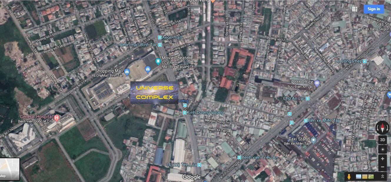 Vị trí dự án Uiverse Complex