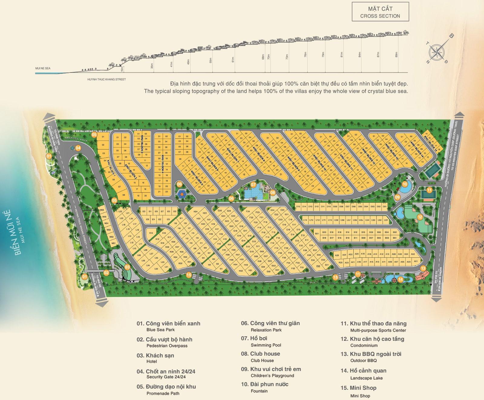 Mặt bằng phân lô dự án Sentosa Villa