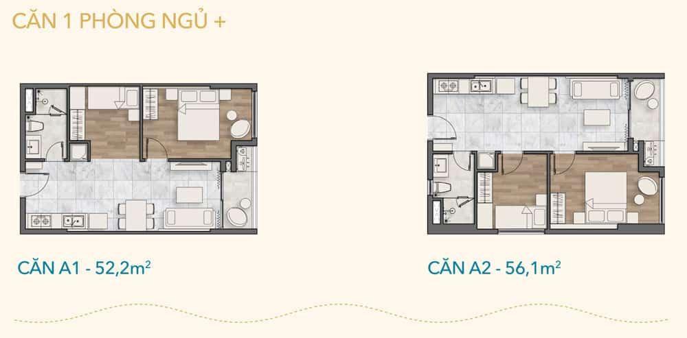 Thiết kế căn 1 phòng ngủ +