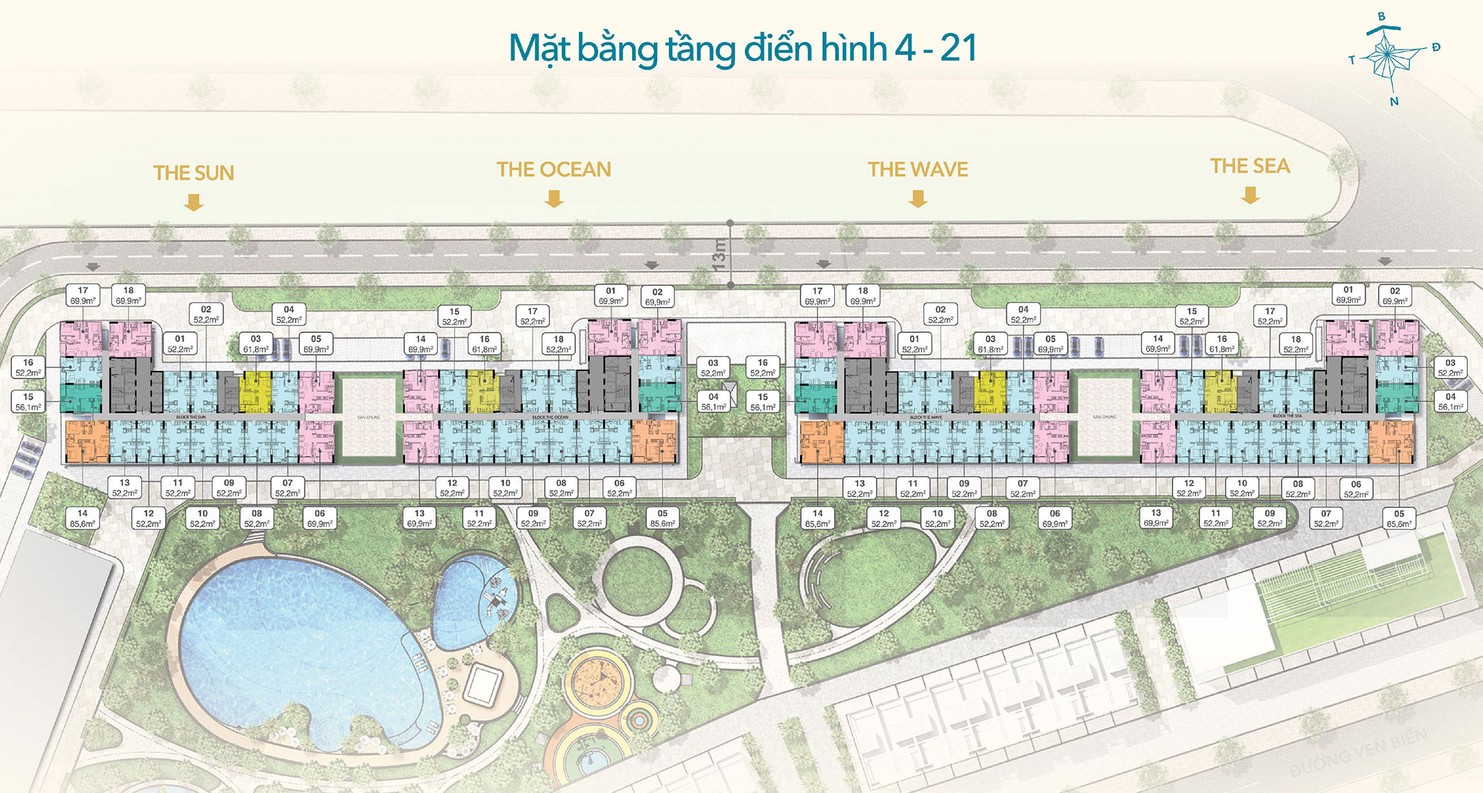Mặt bằng dự án Hồ Tràm Complex tầng điển hình 4-21