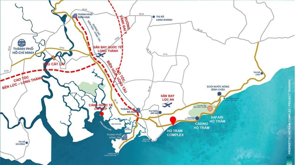 Hồ tràm complex kết nối nhiều nút giao thông và địa điểm nổi tiếng